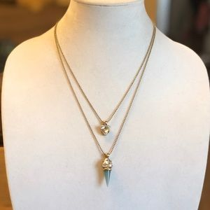 Chalcedony Brass Necklace. Crystal